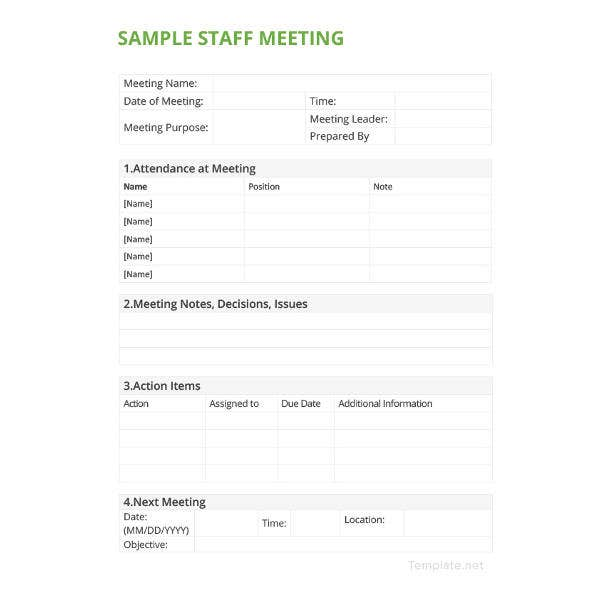 sample staff meeting minutes template1