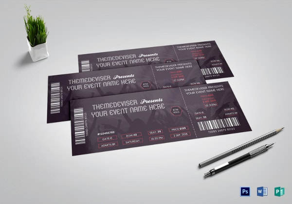38 printable ticket template free psd ai vector eps for Concert ticket template free download