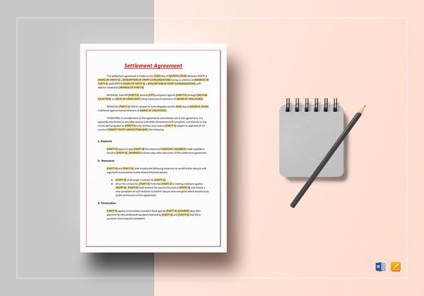 settlement agreement word template