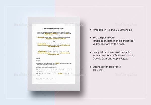 13 Shareholder Agreement Templates Free Sample Example Format