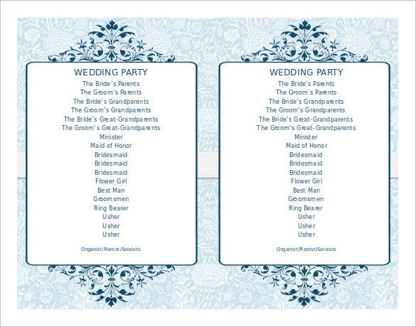simple ceremony wedding program fans doc download1