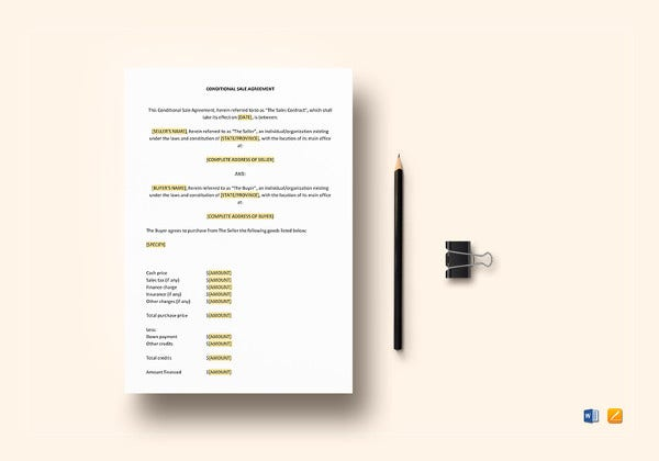 simple conditional sale agreement template in google docs