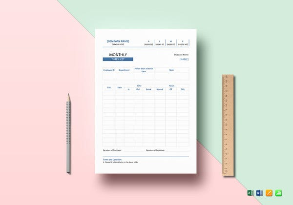 simple monthly timesheet template