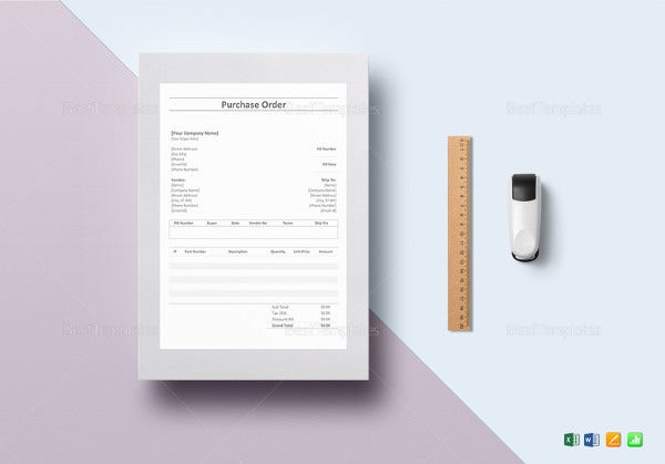 simple purchase order excel template