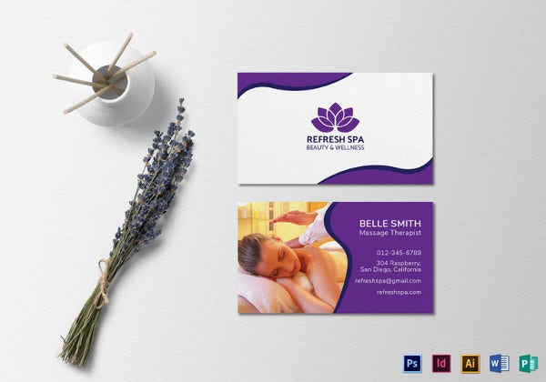 spa center business card template