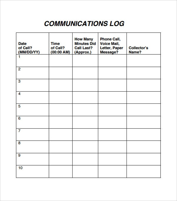 staff communication log template1