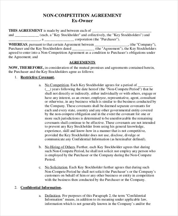 standard non compete agreement1