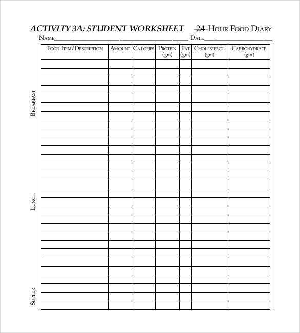 Student Daily Food Log In PDF  Calorie Diary Template