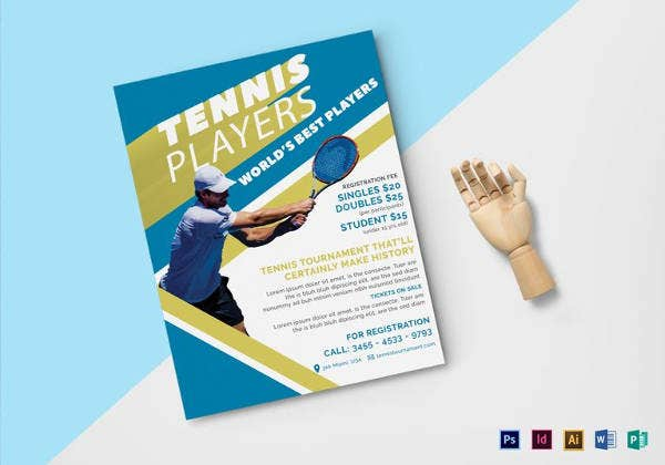 tennis player flyer in word template