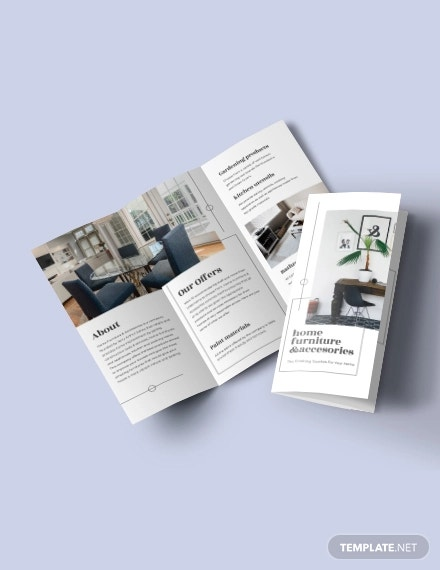 tri fold furniture store brochure template