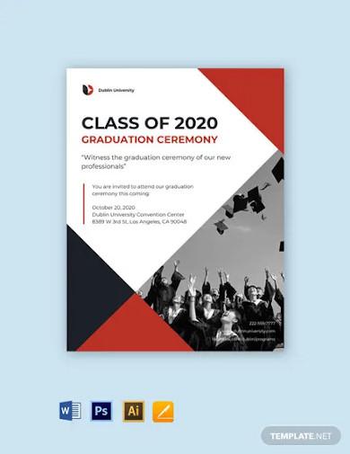 university graduation announcement flyer template