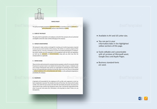 Company Policy Template 16 Free Pdf Documents Download