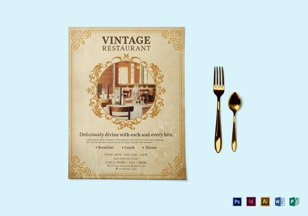 vintage a4 restaurant flyer template