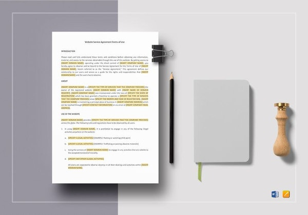 term of use template - 20 service agreement template free sample example