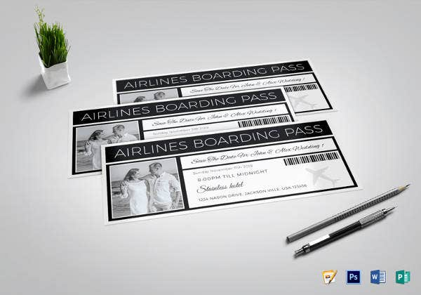 wedding ceremony boarding pass ticket