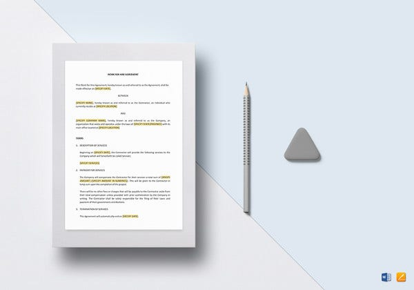 work for hire agreement template to print