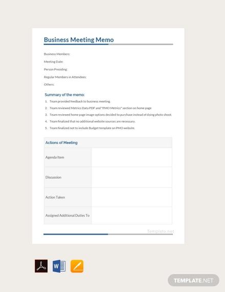 free busines meeting memo