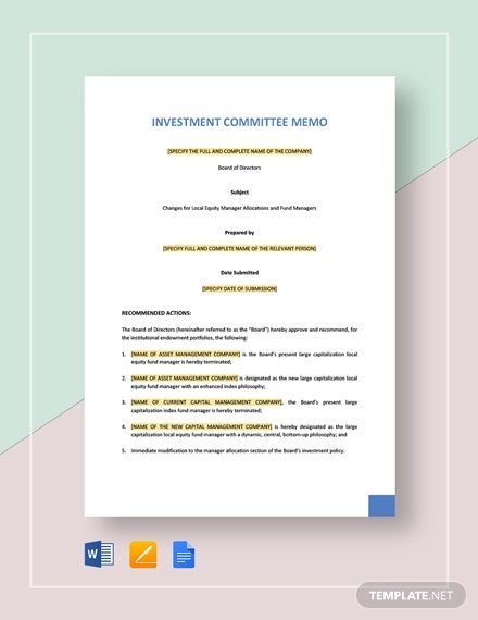 Investment Committee Memo Template