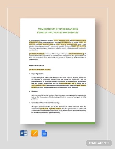 memorandum of understanding between two parties for business3