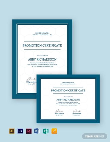 promotion certificate