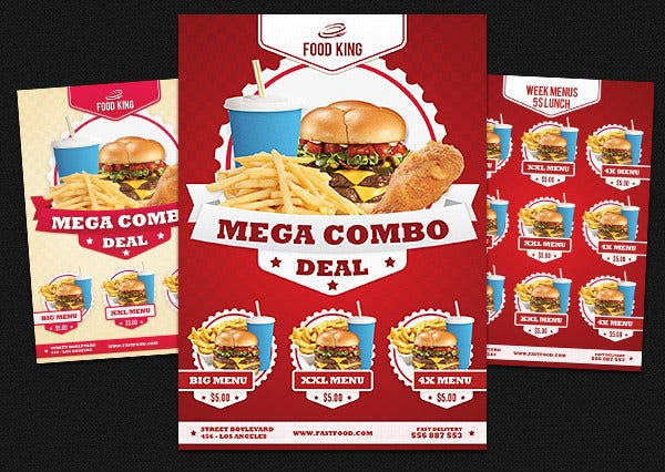 reataurant fastfood menu flyer