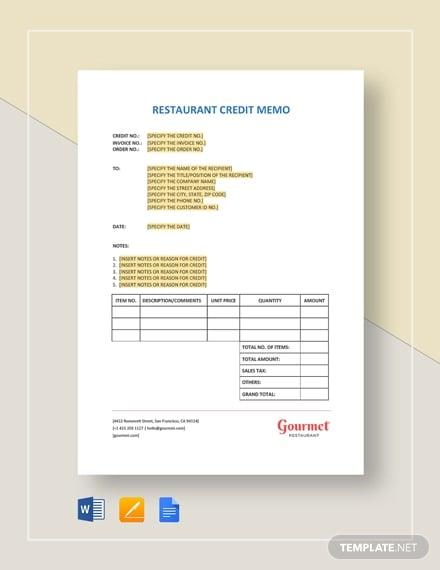 restaurant credit memo