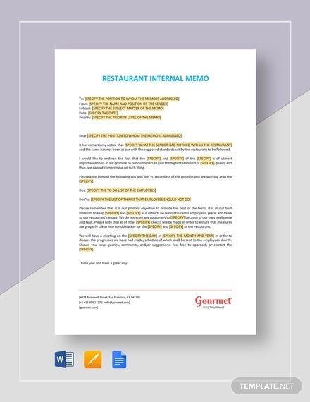 restaurant internal memo