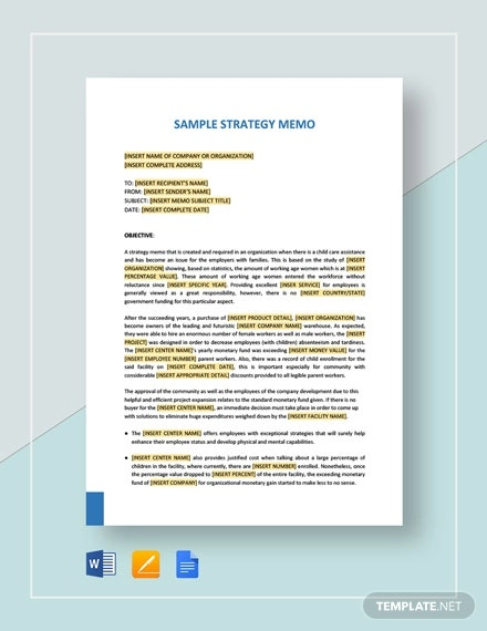 sample strategy memo