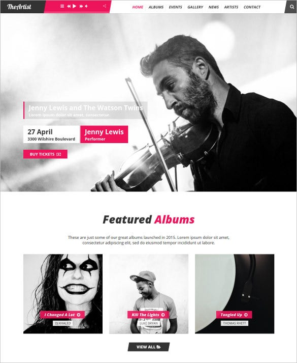 theartist artist band music wordpress theme