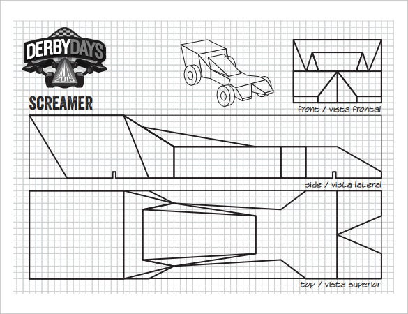 Screamer Derby Days Car Template PDF Printable  Printable Car Template