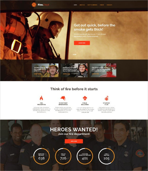 fire department fire station and security wp theme