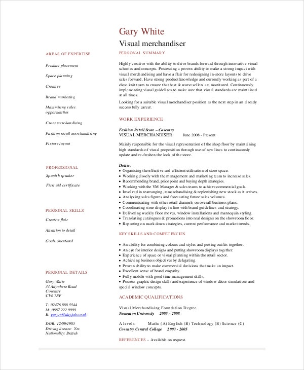 Elegant Visual Merchandiser Resume Template Throughout Visual Merchandising Resume