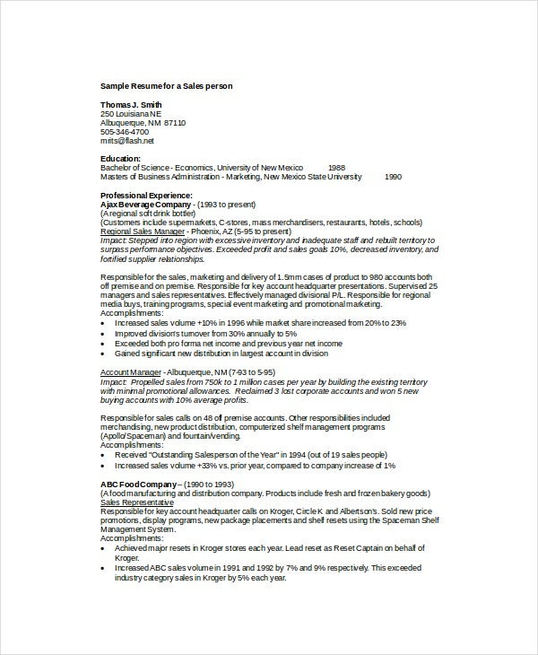 Beverage merchandiser sample resume