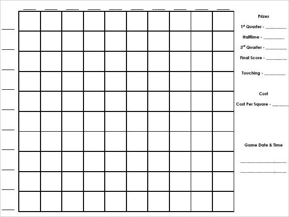Printable Grid Templates with 100 Squares Football Pool