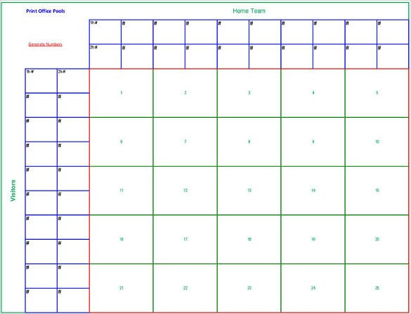 Printable 25 Square Football Pool Sheet Template Pdf