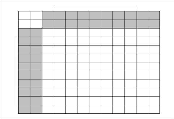 football squares 10x10 game pool template