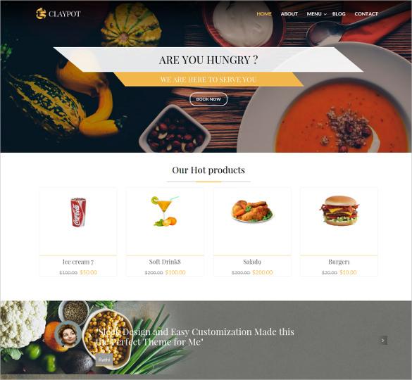 claypot responsive joomla ecommerce restaurant template