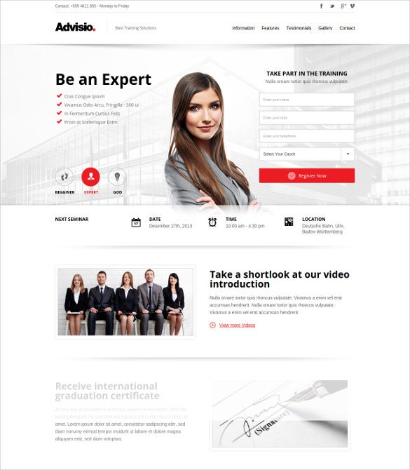 advisio – marketing landing page
