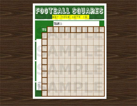 10x10 football squares word template joy studio design for Pool design templates