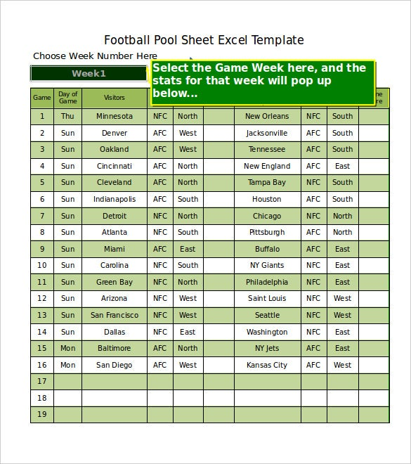 free download football pool sheet excel format template