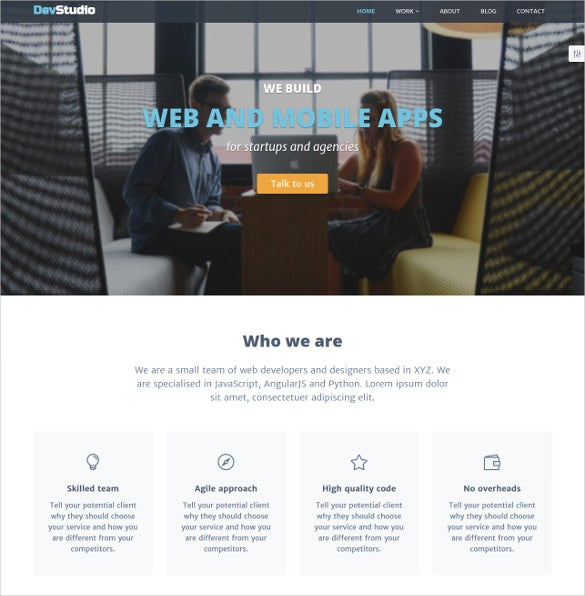 web developers designers marketing theme