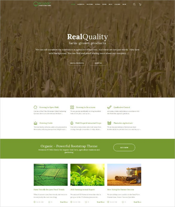organic agriculture farm multipurpose website template