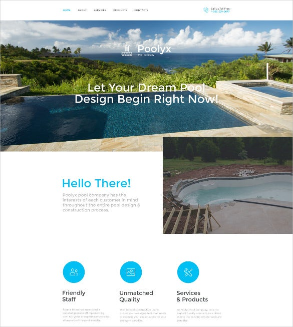 poolix website template