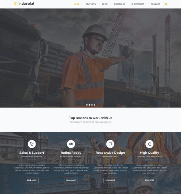industrial construction industry drupal html5 theme