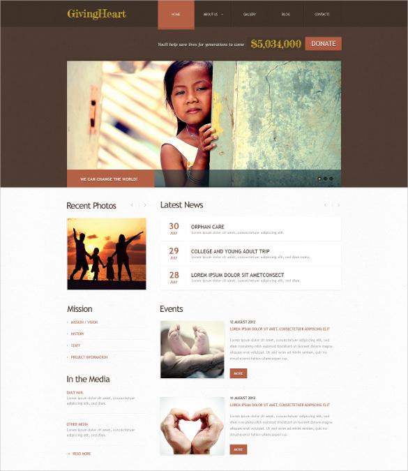 brown charity wordpress blog theme