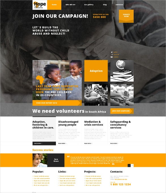 charity responsive wordpress html5 theme