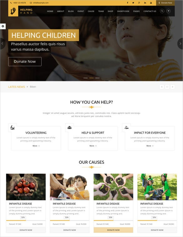 helping hand charity donation html5 template