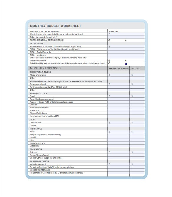 10 Monthly Budget Spreadsheet Templates Free Sample Example – Budget Worksheet Template