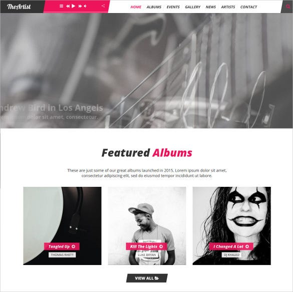 theartist artist band music wordpress blog theme