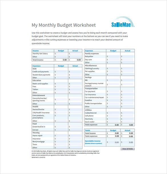 Printables Budgeting Worksheets For Young Adults 10 monthly budget spreadsheet templates free sample example salliemae com the template for young adults in pdf format can be used tracking earnings and the